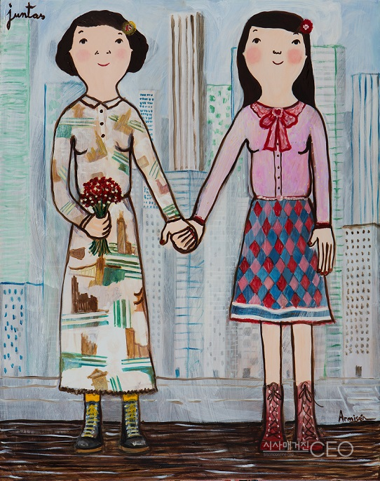 together 2018 oil on canvas 116cm x 92cm